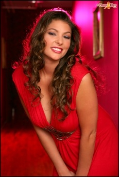 Amber Campisi strips out of a red dress and shows us her amazing 36DD baps...; Big Tits Brunette Hot Natural Italian