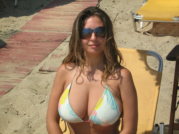 Milf in Sunglasses with Big Cleavage; Babe Mature MILF Natural Wife