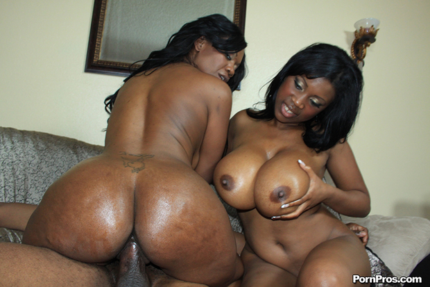 Big tit ebony threesome