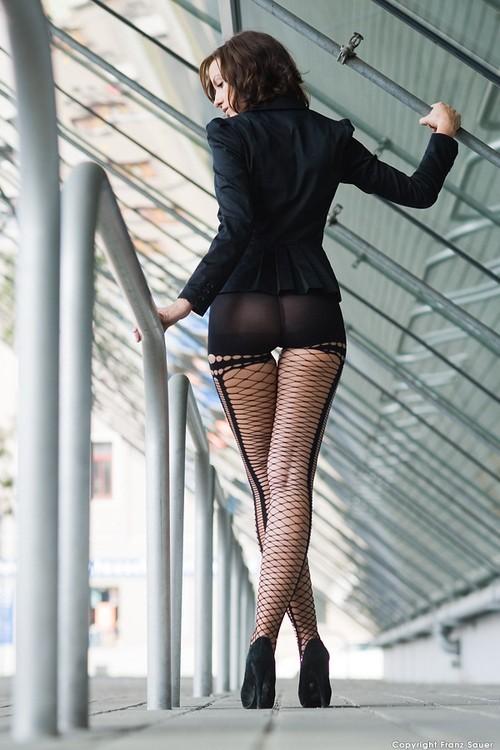 ...; Ass Brunette Fishnet Heels Hot Lingerie Posing See Through Stockings