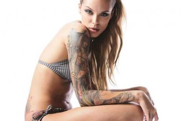 ...; Athletic Babe Blonde Hot Tattoos