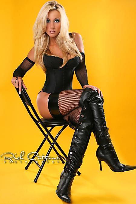 ...; Babe BDSM Blonde Boots Hot Lingerie